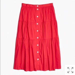 Madewell bistro midi skirt in true red